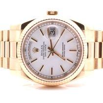 Rolex Mens 18K President - White Stick Dial- 118238