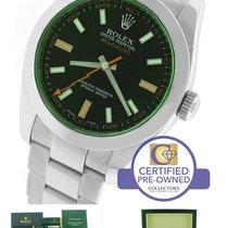 Rolex Milgauss Green Anniversary 116400 GV V Stainless Black...