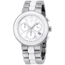 Movado Chronograph White Dial Stainless Steel Ladies Watch...