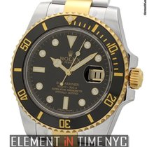 Rolex Submariner Ceramic Steel & Gold Black Diamond Dial...