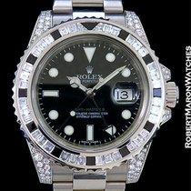 Rolex 116759sanr Gmt II 18k White Gold Diamonds Black Sapphire...