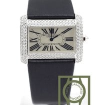 Cartier Tank Divan 18K white gold diamond alligator WA301370 NEW