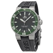 Oris Aquis Date Grey Dial Black Rubber Men's Watch