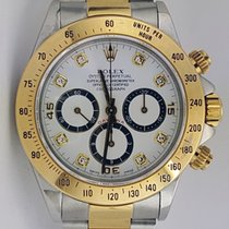Rolex 16523 Daytona Twotone Original Diamond Dial WhiteDial