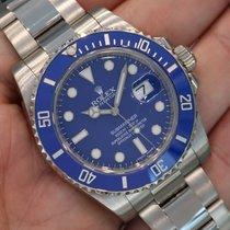 Rolex Submariner 18k White Gold Blue Dial Ceramic Bezel 116619