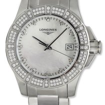 Longines Conquest Stainless Steel & Diamond Womens Luxury...