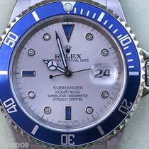 Rolex Submariner 16610 Mens Watch Diamonds Blue Bezel