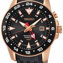 Seiko SUN028P1 Sportura Kinetic GMT rose schwarz 100M 44mm