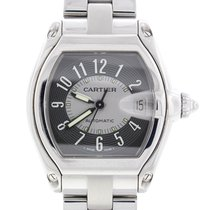 Cartier Roadster Large Gray Arabic Numeral Dial Steel Watch...