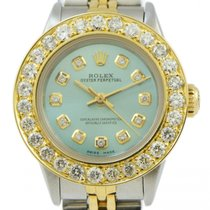 Rolex Ladies Rolex Teal Blue Diamond Dial 2.5 Carat Bezel...