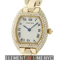 Cartier Tortue Ladies 18k Yellow Gold Factory Diamond Bezel Ref.