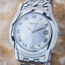 Gucci Mens 5500m Silver Sunburst Roman Numeral Dial Quartz...