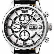 Ernst Benz Chronoscope - White with Black Ring - Black Leather...