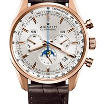 Zenith El Primero 410 Rose Gold 42mm Mens Watch with Brown...