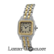 Cartier Genuine Mint Ladies Two Row 18K Gold Steel 22mm Quartz...