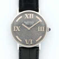 Blancpain Vintage White Gold Embroidered Dial Strap Watch
