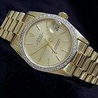 Rolex Date 18k Yellow Gold Watch W/gold Diamond Bezel 68278