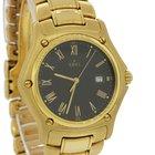 Ebel 1911 18k Yellow Gold 887902 34mm Quartz Black Roman Watch