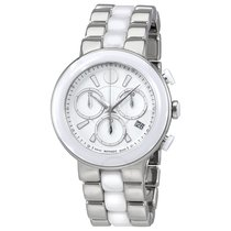 Movado Chronograph White Dial White Ceramic Ladies Watch