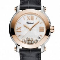 Chopard Happy Sport 36 MM Watch 18k rose gold, stainless steel...