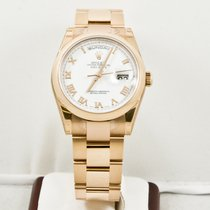 Rolex 36mm Rose Gold Day Date 118205 White Roman Dial