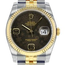 Rolex DATEJUST 36 Steel Yellow Gold Chocolate Floral Dial 2016