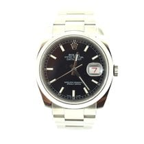 Rolex DateJust black dial smooth bezel
