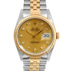 Rolex Mens 2tone Datejust - Champagne Diamond Dial 16223