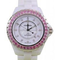 Chanel J12 H2011 42mm White Ceramic Pink Sapphire Diamond...