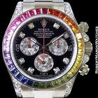 Rolex 116599rbow Rainbow Daytona Baguette Diamonds &...