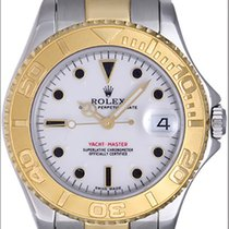 Rolex Midsize Yachtmaster 2 Tone Watch With White Color Face