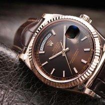 Rolex [NEW] Day-Date 118135 Everose Gold Chocolate Dial Alligator