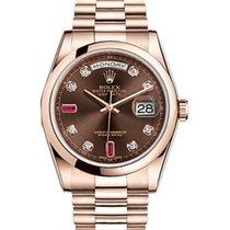 Rolex Day-Date 36 118205-BRNDDP Chocolate Diamond Ruby Rose...