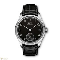 IWC Portuguese Hand Wound 8 Days Stainless Steel Black Men`s...