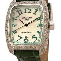 Locman Diamond Tonneau Mother of Pearl Dial Green Leather...