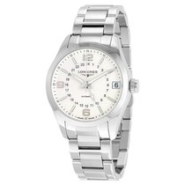 Longines Conquest Classic Silver Dial GMT Automatic Mens Watch...
