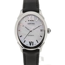 Vulcain First Lady Steel MoP Silver-toned Black Strap