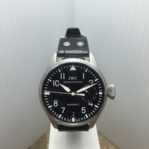 IWC Big Pilot SS Case Blk Leather Strap ref: IW5004-04