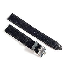 Omega 16mm alligator leather strap black with pin buckle like new