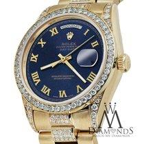 Rolex Presidential Day Date 36mm Dark Blue Roman Diamond Watch...