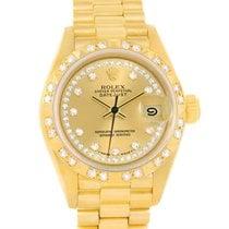 Rolex President Datejust 18k Yellow Gold String Diamond Watch...