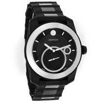 Movado Vizio Mens Tungsten Bezel Black Swiss Quartz Watch 0606614