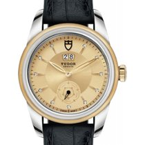 Tudor Glamour Double Date 57003 Champagne Diamond & Index...