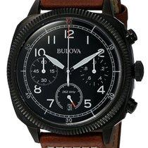 Bulova Chronograph UHF Black Stainless Steel Mens Strap Watch...