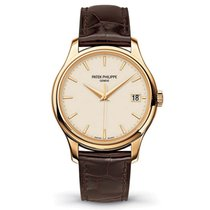 Patek Philippe Calatrava 39mm Yellow Gold Watch Brown Leather...