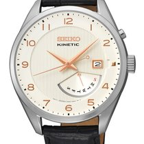 Seiko Kinetic Mens Leather Strap Watch - White Dial - Day /...