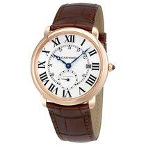 Cartier Ballon Bleu Silver Dial Brown Leather Mens Watch W6801005