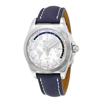 Breitling Galactic Unitime Antarctica Blue Leather Mens Watch...