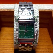 Hermès Stainless Steel Ladies Watch W/ Diamond & Emerald...