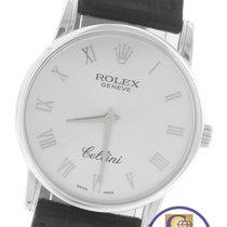 Rolex Cellini Classic Silver Roman 18K White Gold Black 5116...